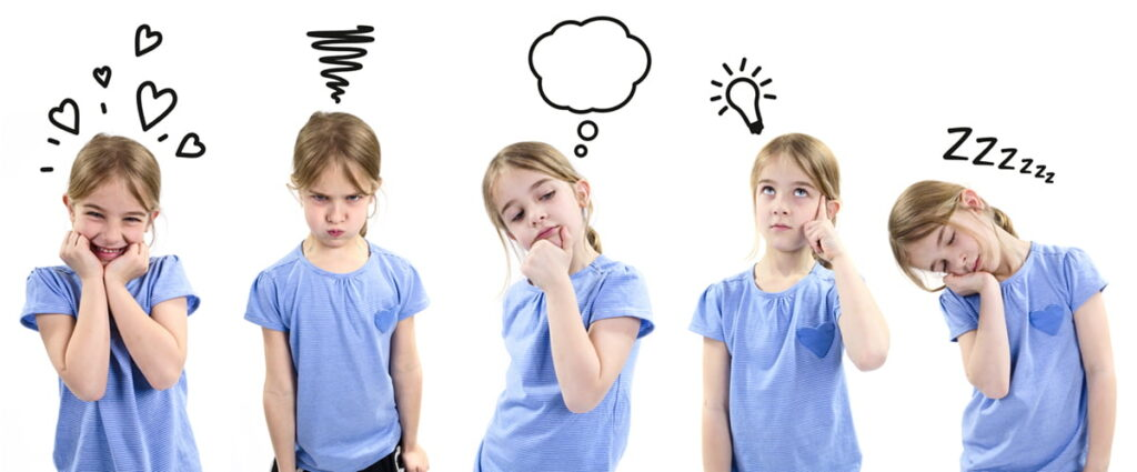 Girl showing different emotions with icons